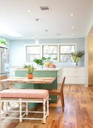 Farmhouse Kitchen Ideas With Wooden Chairs And Mint Green Island Design
