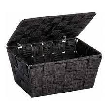 aufbewahrungskorb adria schwarz deckel regalkorb korb box ablage bad organizer