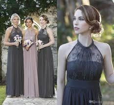 dark gray chiffon long bridesmaid dresses beach garden romantic