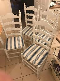 Four Stripy White And Blue Shabby-chic Dining Chairs, Hand Painted And  Finished | In Woking, Surrey | Gumtree Roseberry Shabby Chic French Country Cottage Antique Oak Wood And Distressed White 7piece Ding Set Four Stripy White Blue Shabbychic Ding Chairs Hand Painted Finished In Woking Surrey Gumtree Table Chairs Best Of Ripley Chair Pine Round Room Height Lights Ballad Decoration Tables Balloon Back Antique White French Chic Ornate Ding Table Set With Decor Cozy Slipcovers For Inspiring Interior My Home Room Ideas Chic Diy Shabby Chrustic Chair Basil Chaise