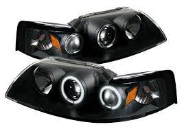 99 04 mustang headlights projector dual angle ccfl halo