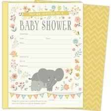 2 In 1 Elephant Baby Shower Invitations And Tearoff Diaper Raffle Tickets Gender Neutral Design With Elephants Banners And Florals 25 5x7 Fill In