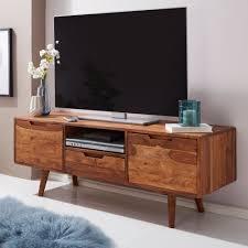 wohnling hifi lowboard amana sheesham massivholz landhaus tv kommode 135x51x45cm fernsehschrank unterschrank mit schublade 2 türen fernsehtisch