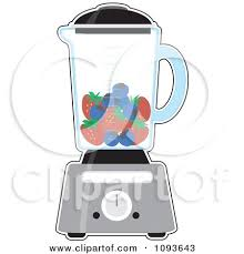 Kitchen Blender With Blueberries And Strawberries For A Smoothie