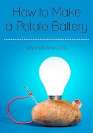 copper and zinc electrodes in a potato battery another potato