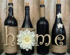 Twine Wrapped Wine Bottles Rustic Home Decor Decorated Bottle Decorations