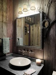 Minimalist Wall Color Combined Rustic Bathrooms Design Brown Paneling Big Rectangular Mirror White