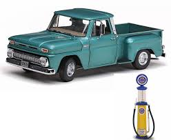 Diecast Car & Gas Pump Package - 1965 Chevy C-10 Stepside Side ... 1965 Chevrolet Pickup C10 Short Box Ac American Dream Machines Bed Street Rod Pickup Chevy Stepside Lowrider Truck Gold Sun Star Bed W 4 Speed Barn Fresh Fast N Loud Discovery Apache For Sale Classiccarscom 1962 1964 Ck 10 Cc931550 Johnny Lightning Classic Vehicle C20 Parking Garage Find A Moexotica