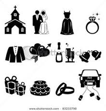 Wedding Icons Silhouette Clip Art Image