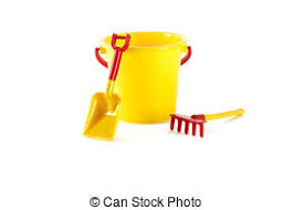 Toy Bucket Spade And Rake On A White Background