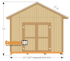 10x14 Garden Shed Plans by 12x16 Shed Plans Gable Design Construct101
