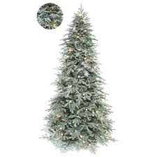 Frosted Lit Green Spruce Artificial Tree With Multi Colored Lights Fake Christmas Trees Near Me Small Best