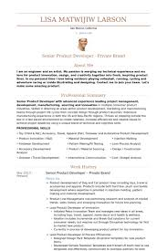 Product Development Manager Private Brand Resume Example