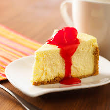 slice of cheesecake with cherry topping on plate close up 5887b1b45f9b58bdb3628ca6