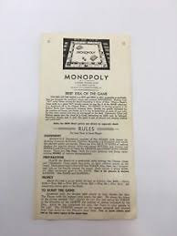 Image Is Loading Vintage Monopoly Board Game 1936 Replacement Instructions