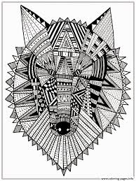 Wolf Head Mandala Adult Coloring Pages