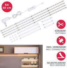 b k licht led streifen lacerta 112 flammig 2m led band set 4 streifen unterbauleuchte inkl verbinder