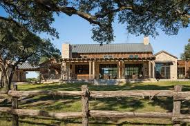 Texas Ranch House Plans Fence Column Windows Pillars Pavers Stone Exterior Chimney Patio Grey Roofs Rustic