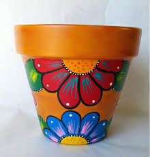 Painted Clay Pots Ideas Pottery Hand Flower Pot Rustic Planter