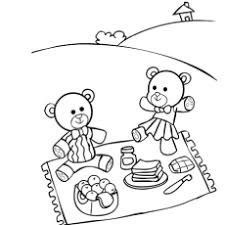 Teddy Bear Enjoying Picnic Coloring Pages