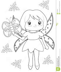 Fairy And Butterfly Coloring Page Stock Illustration New Pages