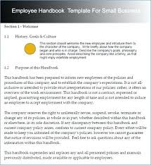 Employee Handbook For Small Business Template Free Uk Manual