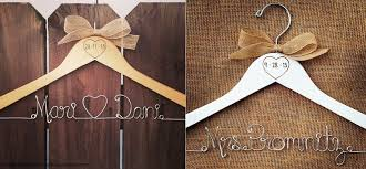 Rustic Personalized Bridal Hanger With Burned On Date