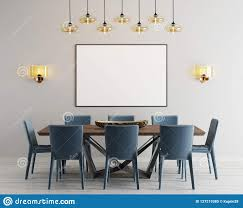 Download Mockup Poster In Modern Dining Room With Long Table And Eight Chairs Stock Illustration