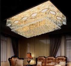 großhandel luxushotel wohnzimmer villa rechteck 3 helligkeit gold k9 kristall deckenleuchte kronleuchter band led glühbirne fernbedienung llfa