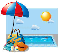 Download Summer Scene With Swimming Pool And Umbrella Stock Vector