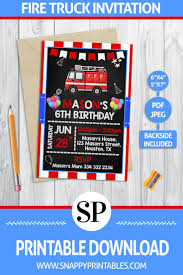 Fire Truck Birthday Party Invitation Printable Invite