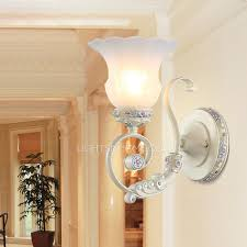 one light resin white color glass shade bedroom wall sconces