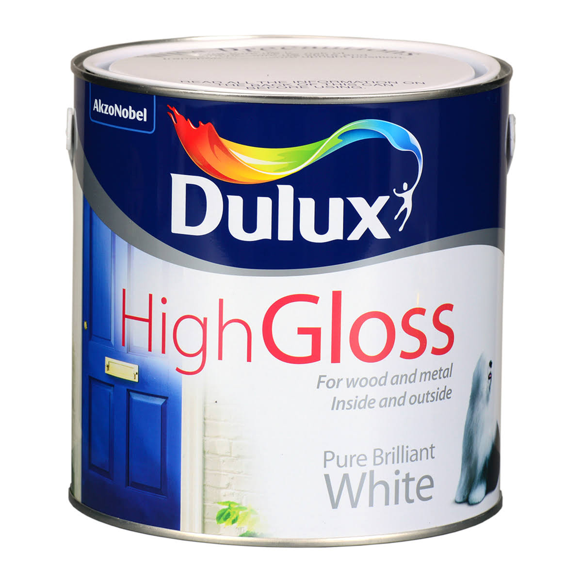 Dulux Interior & Exterior White High Sheen Trim Paint 2500ml Metal Container