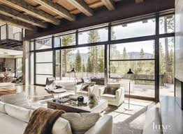 Interior Design Alluring Modern Rustic Decor Living Room Featuring Exposed Wooden Beams And Light Grey