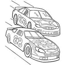 Two Nascar Racing Car Precede Each Other Coloring Page