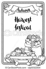 Harvest Festival Poster Autumn Illustration With Seasonal Fruits And Ve ables