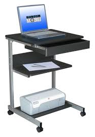 Furniture Black Glass puter Desk With CPU Stand And Chrome