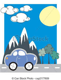 Car Traveling Greeting Card Vector