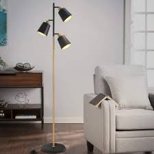 zmh stehle schwenkbare stehleuchte holzfarbe e27 metall stehleuchte 3 flammige moderne für büro schlafzimmer wohnzimmer kaufen otto