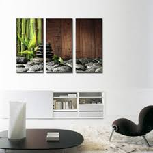 3 Picture Canvas Paintings Wall Art Bamboo Grove And Black Zen Stones On The Old Wooden Background Botanical At Home Decor Sale