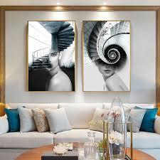 abstrakte mode frauen treppen leinwand kunst malerei für wohnzimmer murale salon moderne poster und drucke tableau dekoration