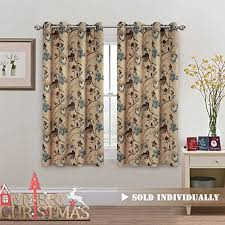 HVersailtex Vintage Rustic Style Printed Design Room Darkening Blackout Curtain Panels With Antique Grommet Top Set Of 1 Panel W52 X L63 Inch Taupe And