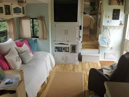 Camper Interior Decorating Ideas by Diy Rv Decorating New Day Bed And New Kitchen Storage Area Rv