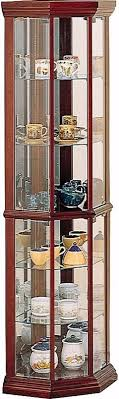 tall modern brown glass wood curion display corner cabinet