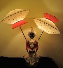 Antique Aladdin Electric Lamps by Mid Century Aladdin Hotel Blackamoor Lamp Fiber Shades Ebay