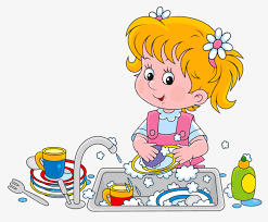 28 Collection Of Girl Washing Dishes Clipart Black And White