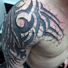 3d Stone Tribal Arm Tattoos For Men