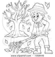 Clipart of a Cartoon Black and White Happy Man Raking Autumn
