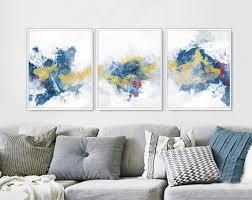 living room poster set set of 3 wall set blue set of 3 3 poster set printable wall gold set printable canvas set
