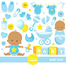 Baby boy clipart Baby shower clipart African American baby
